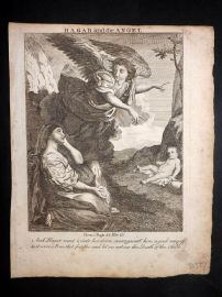 Butley 1762 Antique Religious Print. Hagar and the Angel